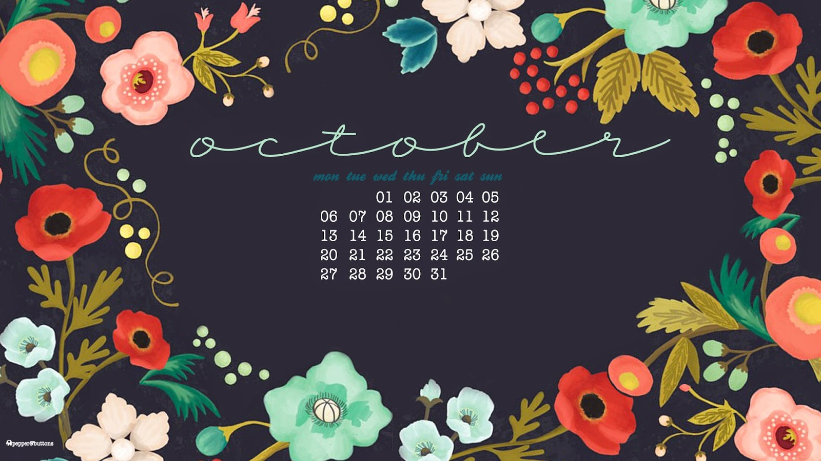 Wallpaper Calendar Oct : Pepper and buttons october free desktop calendar