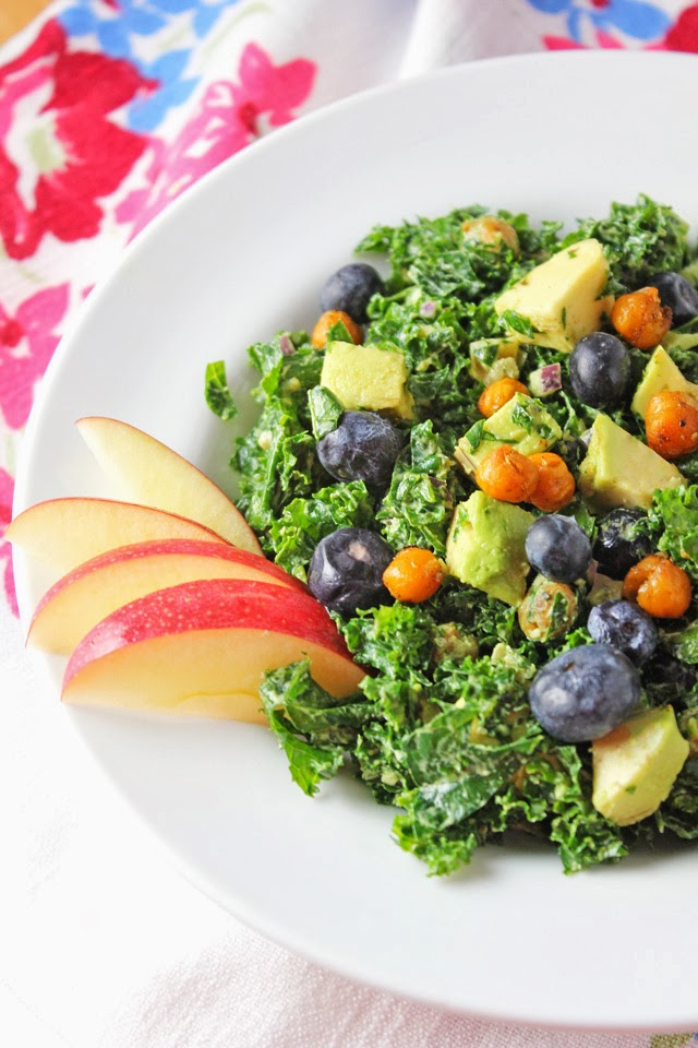 Kale Salad with Green Goddess Dressing and Roasted Chickpeas Recipe