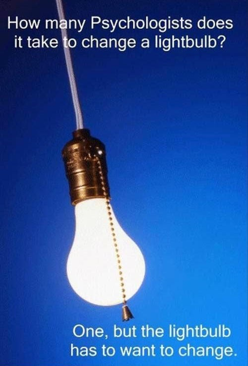 Many psychologists does it take to change a light bulb dr heckle