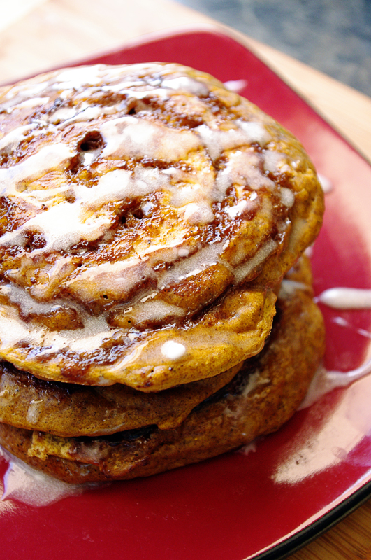 Oh Honey, Im Baking: Pumpkin Cinnamon Roll Pancakes