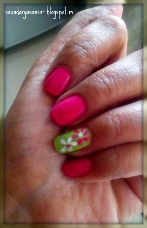 Lotus Herbals Nail Enamel- Color Dew in Fuschia Drop Review, NOTD