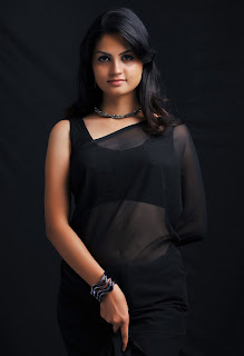 Madhulika Spicy Transparent Black Saree Stunning Contracts with her skin color