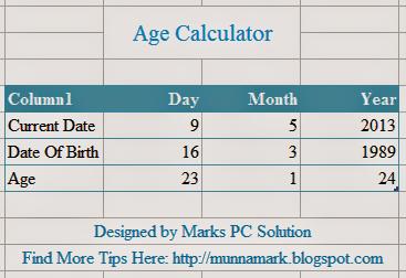 Microsoft Excel Age Calculator