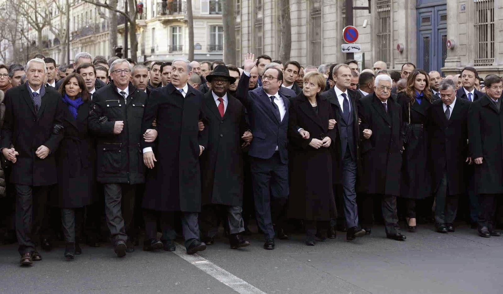 Marcha Masacre Charlie Hebdo dirigentes politicos