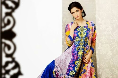 Lala,long,Summer,New,Dresses,Printed,Trousers,Chiffon,Dupattas,Collection,2014-15