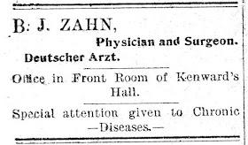 B. J. Zahn, M. D., 1901 ?? Ad