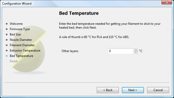 Мастер настройки Slic3r: Температура стола