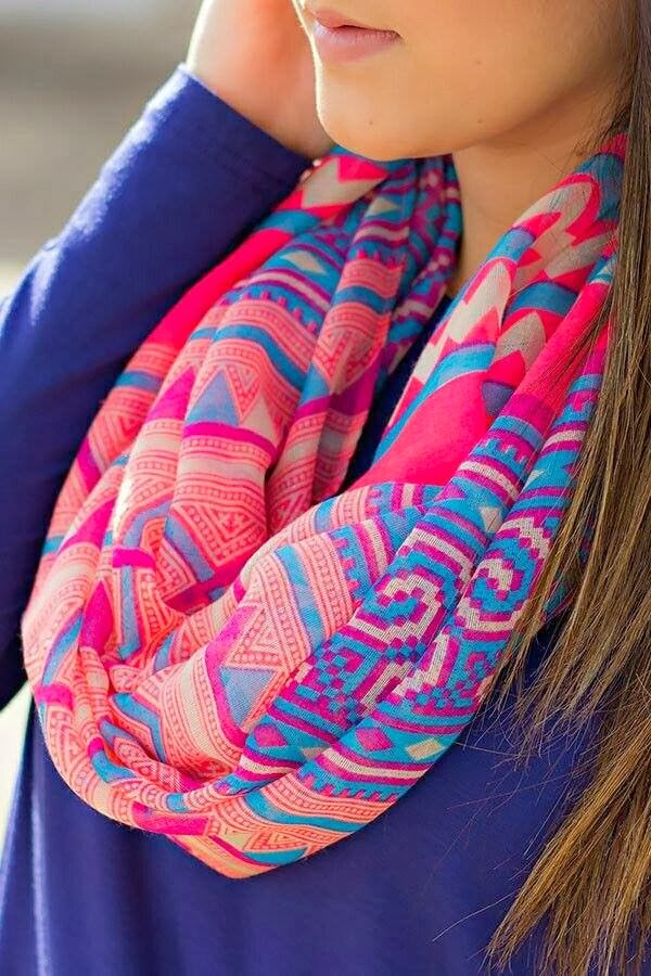 Beautiful Colorful Patterned Scarf with Navy Blue Sleeve Shirt, Street Style