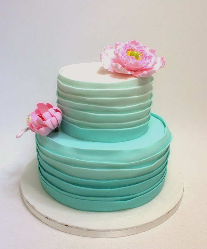 Two Tiered Ombre Wedding Cake