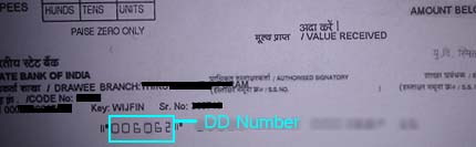 DD number on SBI Draft, 6 digit