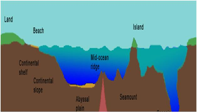 Ocean and its parts for Ocean floor description