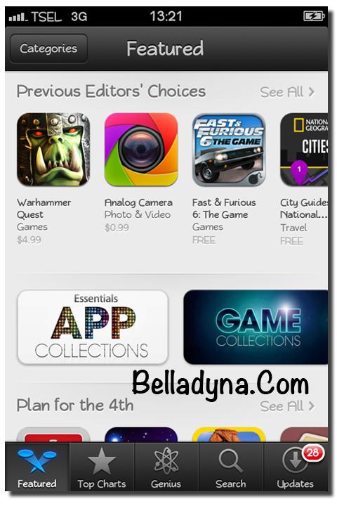 Setelah masuk ke App Store, pilih salah satu aplikasi atau game yang ...