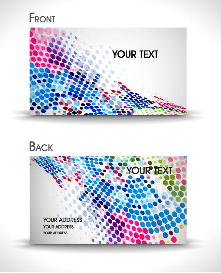 カラフルなドットのカード テンプレート colorful dots business cards templates イラスト素材