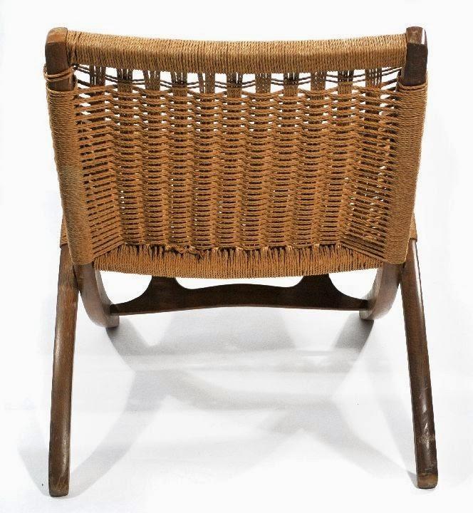 Hans Wegner Style Wicker Folding Chair