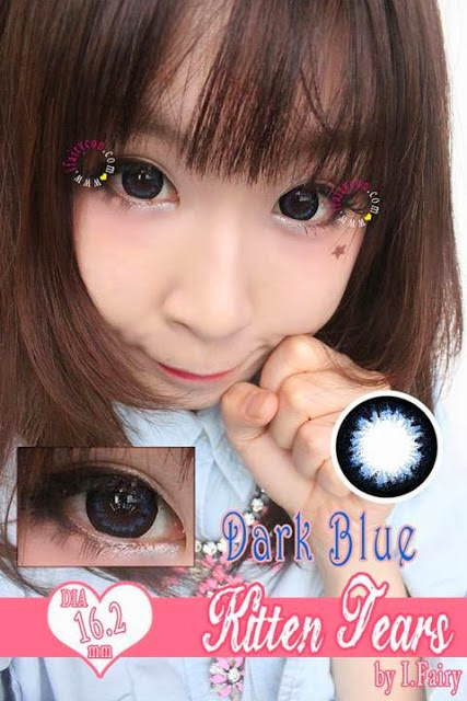 I.Fairy Kitten Tears Dark Blue circle lens review