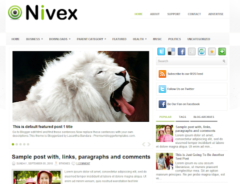 Nivex Blogger Theme