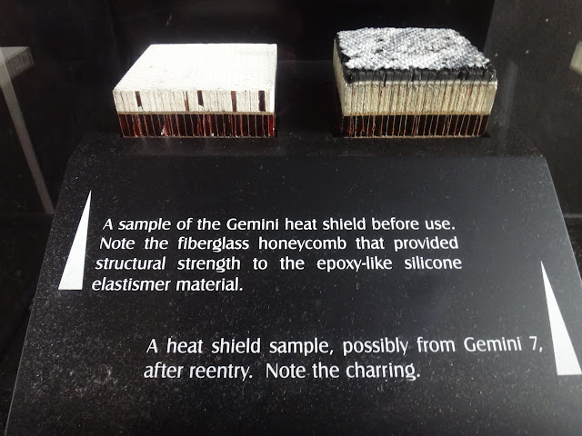 Gemini heat shield with burn marks after reenter the Earth display at Space and Air Museum in Washington DC, USA