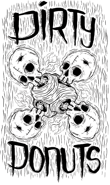 Dirty skully donuts illustration