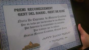 Premio reconocimiento Gente del barrio Gente de Rubí