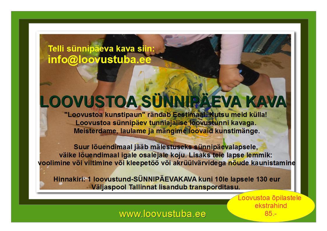 TELLI SÜNNIPÄEVA KAVA KOOS LOOVUSTOAGA!