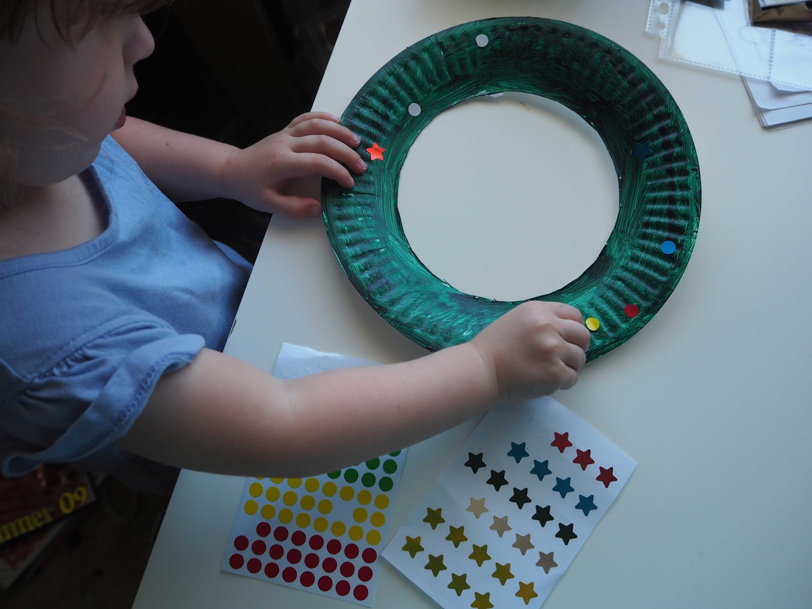 Toddler craft paper plate wreathes life behind the for Starting a small craft business from home
