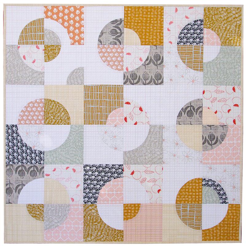 Umbrella Prints Flowers - Drunkard's Path Variation Quilt   Red Pepper Quilts 2015