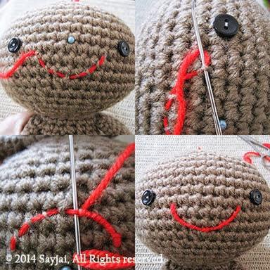 How to embroider mouth - Sayjai Amigurumi Crochet Patterns ...