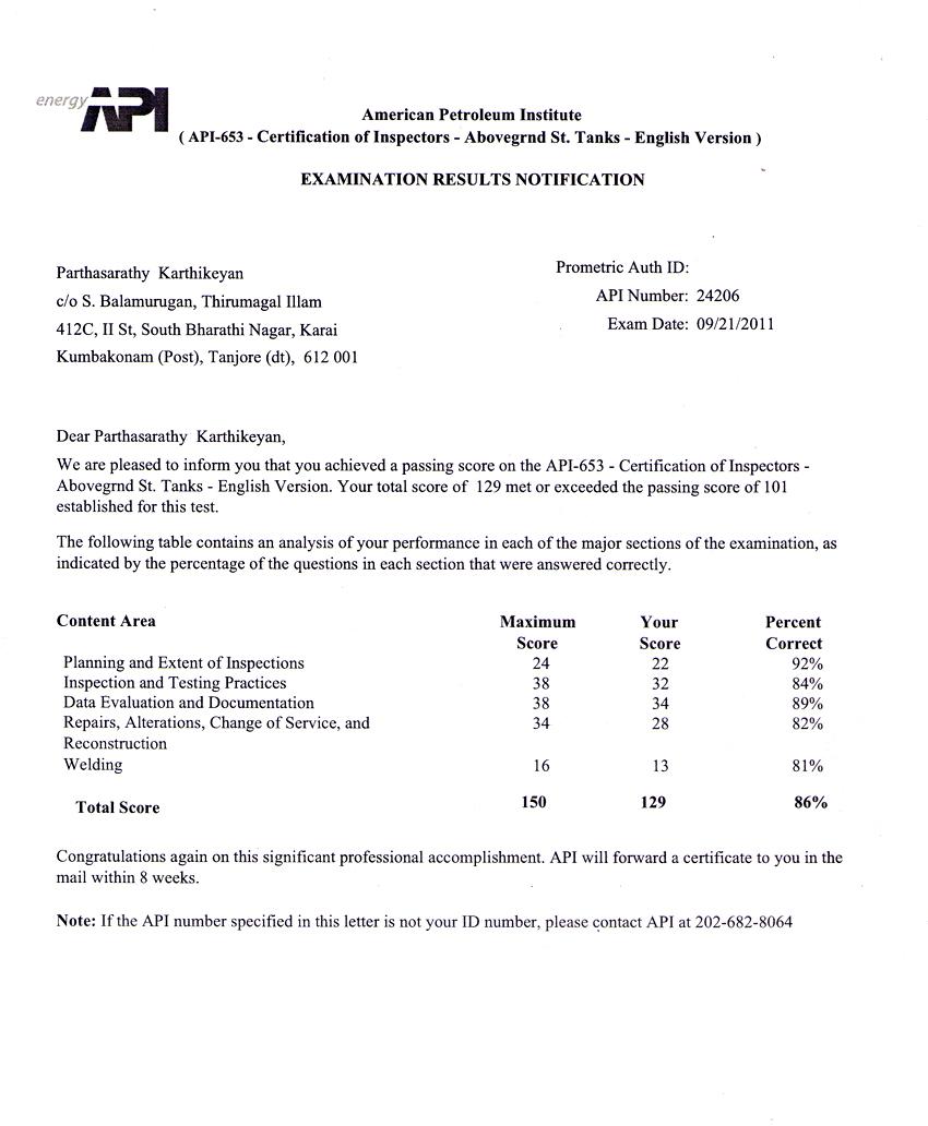 Karthikeyanp C Api 653 Test Score Report