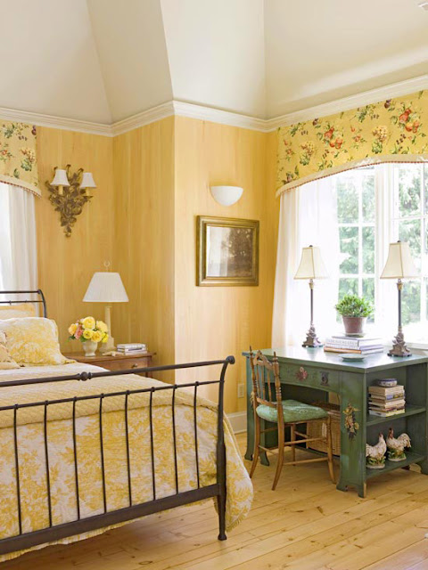 2014 bedroom decorating ideas with yellow color - Old fashioned vintage bedroom design styles cozy cheerful vibe ...