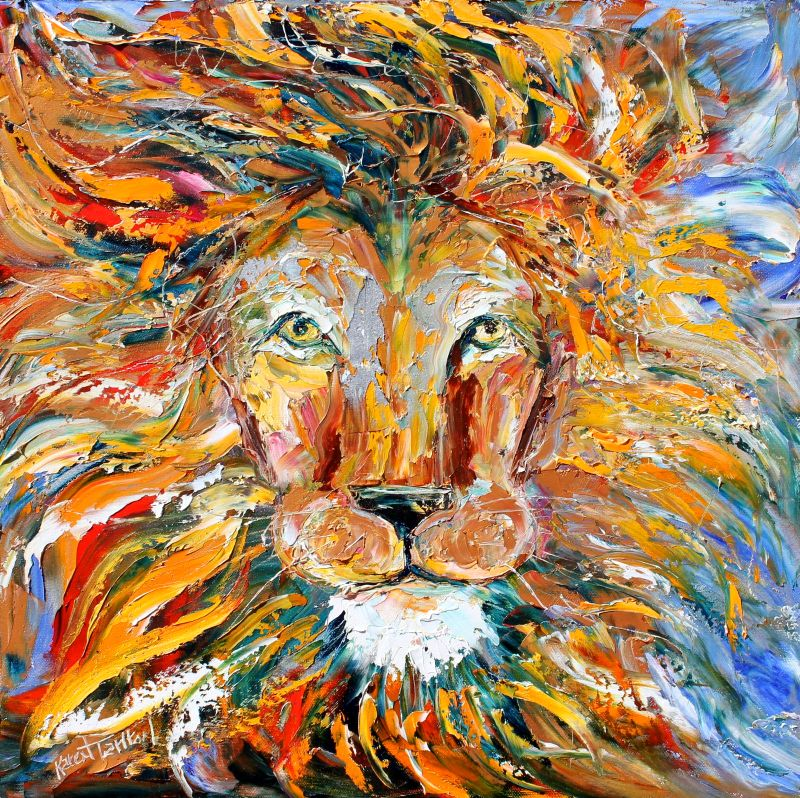 Palette knife painters international original oil for Animal oil paintings