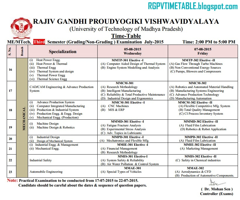 July 2015 rajiv gandhi proudyogiki vishwavidyalaya for Rgpv time table 6th sem 2015