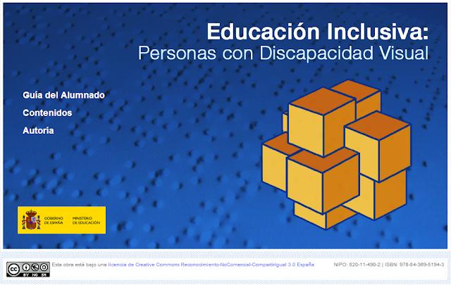 Imagen que ofrece la portada del portal educativo sobre inclusión educativa del alumno con dv