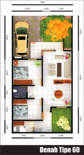 Denah Rumah Minimalis Tipe 60 Terbaru