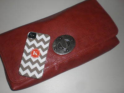 Zigzag Chevron iPhone Case Taupe with Initial