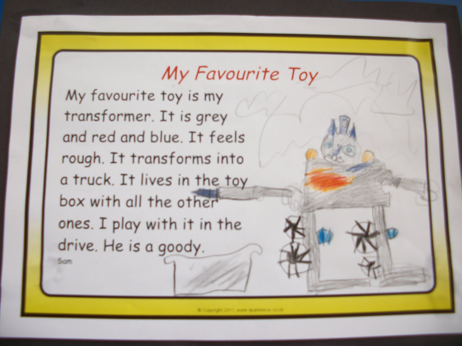 my favourite toy about car My favourite is my toy dog called poppy, she is black and white she is my  favourite because my  my favourite toys are toy cars jamie, 12.