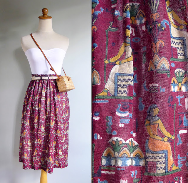 vintage maroon novelty print  egyptian skirt