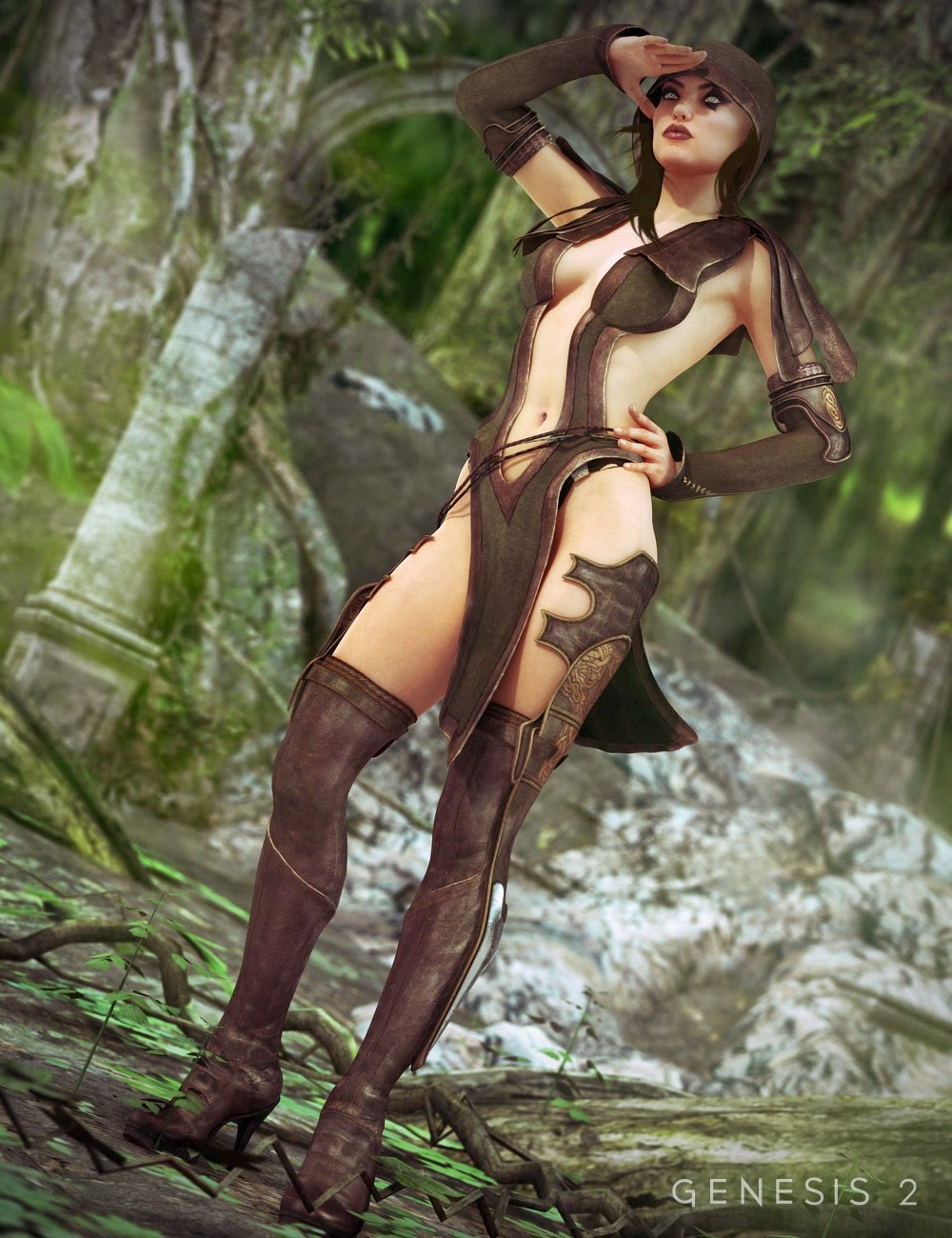 Sherwood Huntress Outfit Pour Genèse 2 Femme