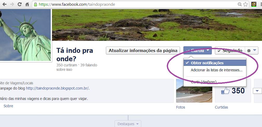 """facebook do blog """"Tá indo pra onde?"""""""
