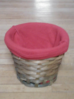 Basket lined with red cloth