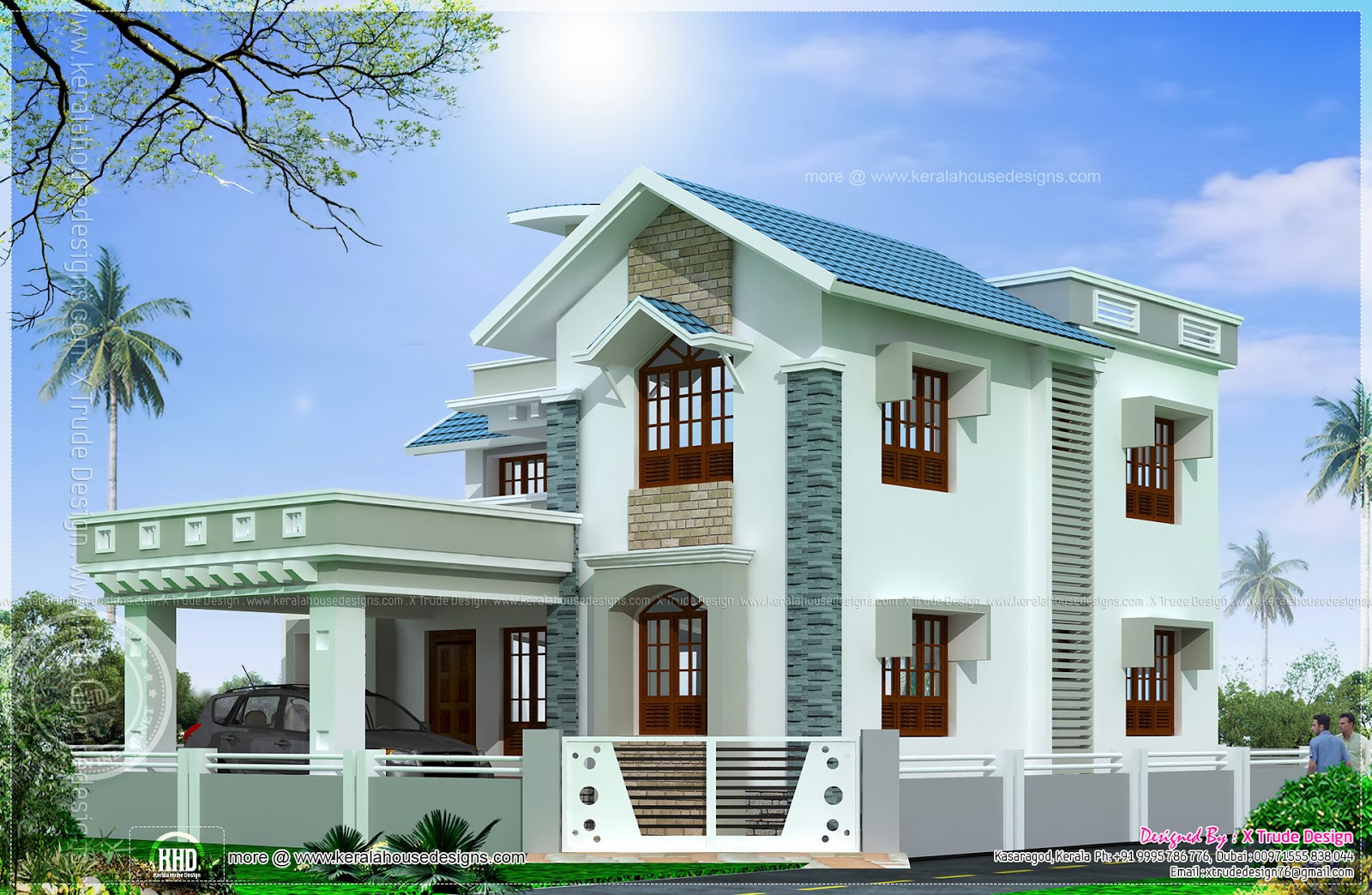 Beautiful 2138 square feet house elevation kerala home for Home design front side