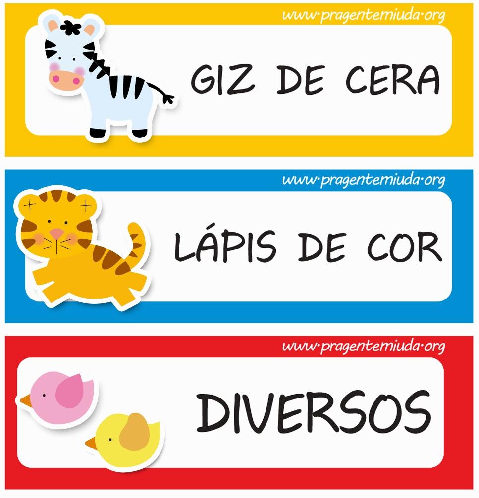 Etiquetas para identificação de material escolar - Safari