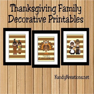 Decorate your walls with these beautiful Family Thanksgiving Printable wall decorations.  The pilgrims, the Indians, and the Thanksgiving Turkey will all wish you a Happy Thanksgiving and remind you to be grateful for all you have