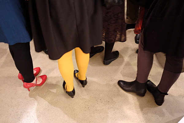 Shoes and boots, red, black brown and contrasting coloured tights, black, yellow and brown; at opening, Street Fashion Sydney