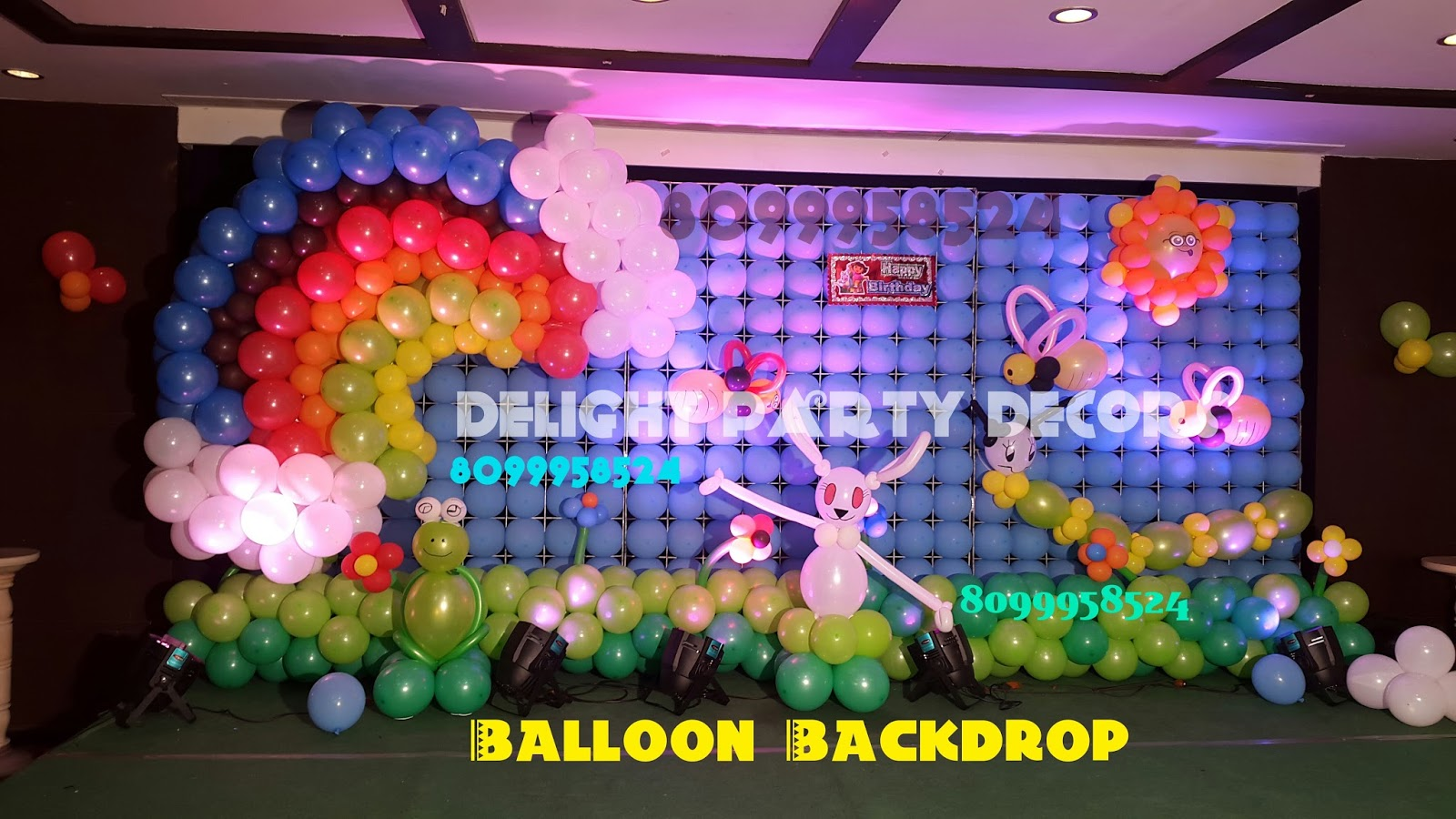 Delight party decors balloon backdrop in hyderabad call for Balloon decoration in hyderabad