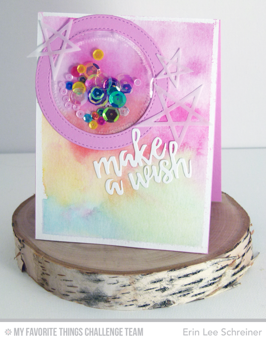 Pastel Make a Wish Card by Erin Lee Schreiner featuring the Laina Lamb Designs Lucky Stars Die-namics and the Brushstroke Birthday Greetings and Stitched Circle Frames Die-namics #mftstamps