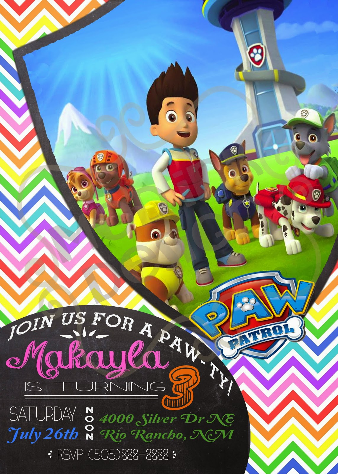 paw patrol custom birthday invitation