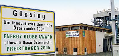 Güssing: municipi més innovador d'Àustria i premi mondial de l'energia 2005