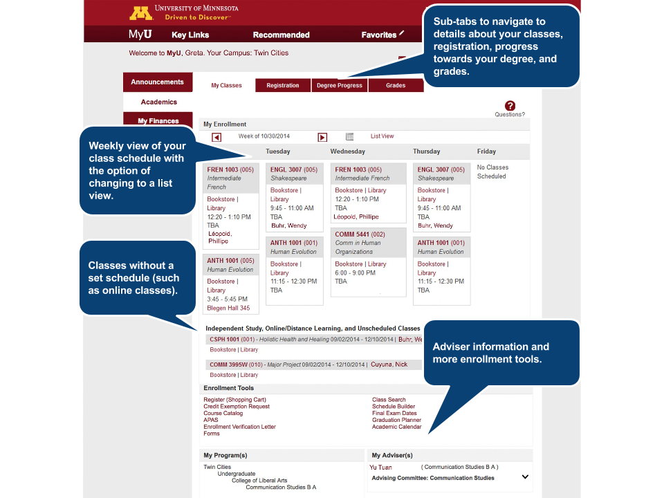 1. Weekly view of your class schedule with the option of changing to a list view. 2. Sub-tabs to navigate to details about your classes, registration, progress towards your degree, and grades. 3. Adviser information and more enrollment tools. 4. Classes without a set schedule (such as online classes).