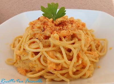 spaghetti integrali con zucca e condimento di soia