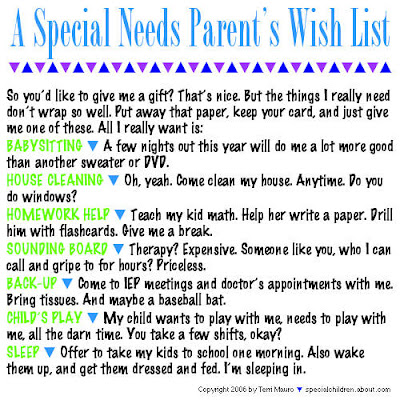 special needs parents wishlist onequartermama